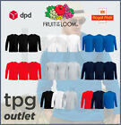 3 Pack Fruit Of The Loom Mens Long Sleeve T Shirt Plain T-Shirt Cotton Tee Lot