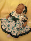 DREAM BABY GIRLS CREAM & GREEN FLORAL DRESS & BONNET 0-12 MONTHS OR REBORND DOLL