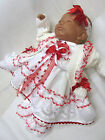 DREAM BABY GIRLS DRESS CARDI HBD SOCKS CLOTHES 4 PC SET  0-6 MONTHS OR REBORNS