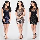 Womens Sequins Mesh Bandage Bodycon Dress Party Cocktail Dress Club Mini Dress