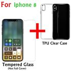 For iPhone X Tempered Glass Screen Protector Guard Shield + TPU Clear Case Cover