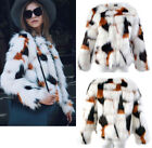 Women's Winter Faux Fur Coat Mixed Color Jackets Lady Short Hairy Parka Outwear