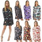 Womens Halloween Pumpkin Skull Web Cross Candle Print Skater Swing Dress 8-26