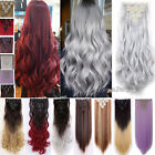 Hair Extensions Real Thick Full Head 8 Pieces Clip In Long Straight as human T67