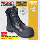 Wide Load 'S3' 890WZ  Extra Wide, Steel Cap Safety Boots. Wheat Nubuck. Side Zip