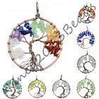 Copper Tree of life pendant Amethyst Rose Crystal Necklace Chakra Chakra Jewelry