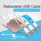 2 in 1 Retractable Micro USB Cable Data Sync Charging For iphone 8 X Samsung 1M