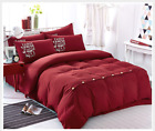 Plain Duvet/Quilt Gray Cover with Pillow Case With Button 4PC Beding Set WB007