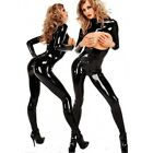 SEXY Faux Vinyl PVC Wetlook Catsuit LUST Open Bust Fetish Goth  8 - 12 RBM