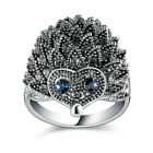 Cute Hedgehog Black Crystal Marcasite Statement Cocktail Ring for Women R1857
