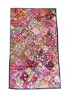 Mogul Indian Tapestry Vintage Patchwork Embroidered Kutch Throw Wall Decor 90x80