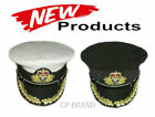 ROYAL NAVY OFFICERS HAT CAP CAPTAIN RANK WHITE OR BLACK QUEEN CROWN CP MADE