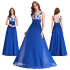 Long Blue Formal Bridesmaid Wedding Dress Party Evening Dress Cocktail Ballgown