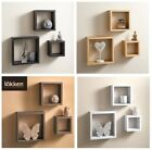 Home Decor 3 Cube Floating Wall Shelf Shelves Space Storage Black / White / Oak