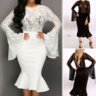 Ladies Women Fishtail Dress Lace Long Formal Cocktail Evening Party Wedding Prom