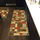 Custom Size Stair Hallway Runner Rug Non Slip Rubber Back Multicolor Tiles 3D