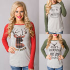 Fashion Women Ladies Long Sleeve Tops Shirt Casual Christmas Blouse T-shirt