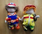 SOFT TOY CUTE BUILDER Or FIREMAN EDUCATIONAL DRESSED ZIP BUTTONS MOTOR SKILLS