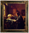Vermeer The astronomer Framed Canvas Print Repro 20x24