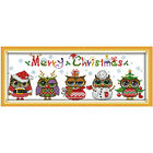 Cross Stitch Kit Christmas Owls DIY Home Decoration Embroidery 48x18cm 60x23cm