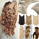 Long Real Straight Curly Secret Headband One Piece Wire in Hair Extensions FK5