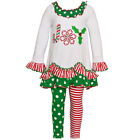"Bonnie Jean Little Girls Green Red Stripe Dot ""Joy"" 2 Pc Legging Set 2T-6X"