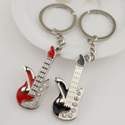 Unisex Guitar Pendant Crystal Key Ring Chain Keychain Lover Present Concert Gift