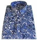 Shirt Blue White Paisley Men's Button Down Long Sleeve Cotton Relco