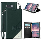 LG V30/ LG V30 Plus Flip Case-Synthetic Leather Card Wallet Cover+Wrist Lanyard