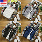 US Mens Floral Patchwork Jacket Zipper Up Hooded Sweater Stylish Hoodie 2XL-4XL