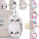 Soft Handbag Car Keychain Owl Pendant Keyrings Key Charm Pompom Fluffy