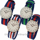 NEW Mens Stylish Classic Military Strap Watch by SOFTECH Nylon Two-Tone Slim