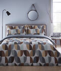 ABSTRACT CHARCOAL DUVET COVER BEDDING SET FLORAL LEAF GREY BROWN LATTE BEIGE