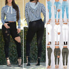Fashion Women Trousers Destroyed Ripped Distressed Slim Casual Pants Jeans