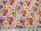 Discount Fabric Quilting Cotton Pink, Purple and Yellow Cats and Fish 400K