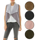*CLEARANCE*  KOGMO Women's Faux Fur Shearing Fully Lined Suede Striped Vest Coat