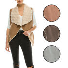 *CLEARANCE* KOGMO Women's Classic Faux Fur Shearing Fully Lined Suede Vest Coat