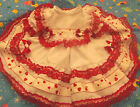 DREAM BABY RED LACE HEARTS NETTED DRESS 0 - 18 MONTHS OR REBORN DOLLS