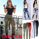 Women Ladies Fit Stretch Riped Skiny Pencil High Waisted Denim Pants Jeans USA