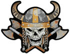 Embroidered Viking Skull With Axes and Horn Helmet Large Back PATCH