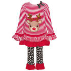 Rare Editions Little Girls Red Stripe Reindeer Applique 2 Pc Pant Set 2T-6X