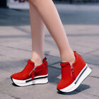 Fashion Women Casual Canvas Wedges Boots Platform Shoes Slip On Ankle Boot Shoes