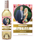 PERSONALISED gold/ pink Wine label Birthday Anniversary Wedding Engagement gift