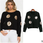 New Ladies Oversized Long Sleeve Knitted  Jumper Top
