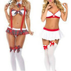Sexy Girl Lingerie Nurse Or Student Uniform Costume Suspender Halloween Cosplay>