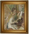 the renoir girl - Renoir Young Girls at the Piano 1892 Framed Canvas Print Repro 16x20