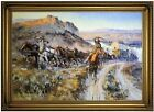 Russell The Jerkline 1912 Wood Framed Canvas Print Repro 19x28