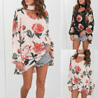 Women Long Sleeve Floral Casual Blouse Chiffon V-Neck Tunic Pullover Tops Shirt