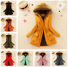 Fashion Women Keep Warm Thick Cotton-Padded Clothes Hooded Wool Collar Coat