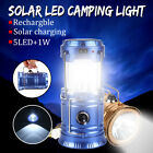 5+1W Solar Rechargeable LED Flashlight Power Camping Tent Light Lantern Lamp New